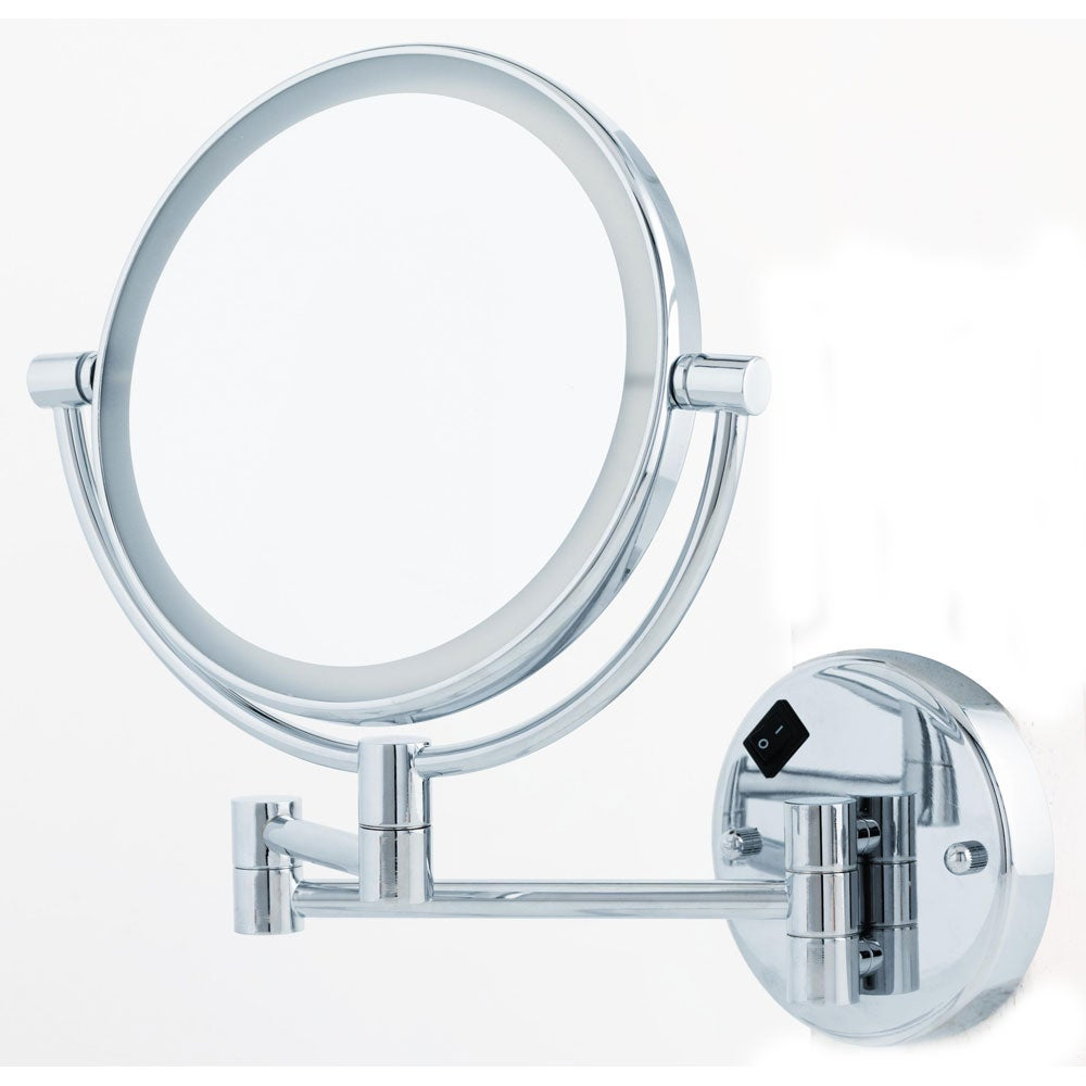 danielle 1x 5x round led lighted wall mount mirror overstock. Black Bedroom Furniture Sets. Home Design Ideas