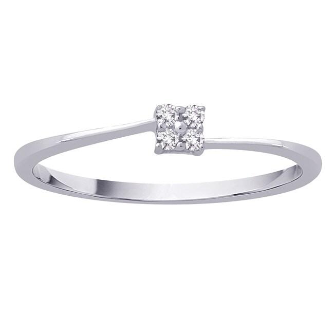 Size 7 10k White Gold 0.05ct TDW Diamond Fashion Ring (G-H, I2-I3)