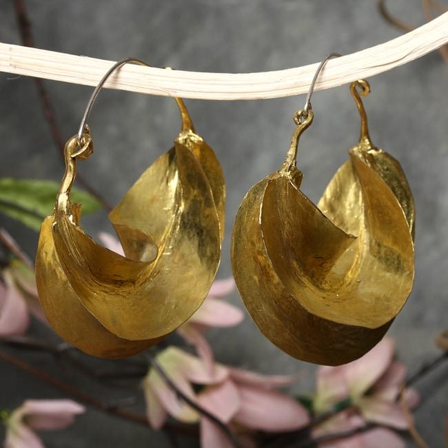 Fulani Earrings: Brass Fulani Autumn Leaf Dangle Earrings (Mali