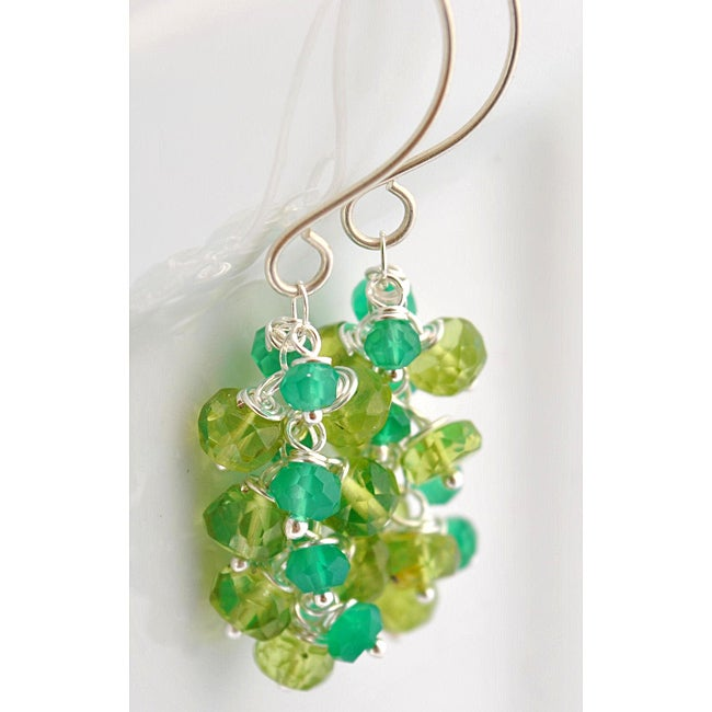 Sterling Silver Peridot and Green Onyx Cascade Earrings