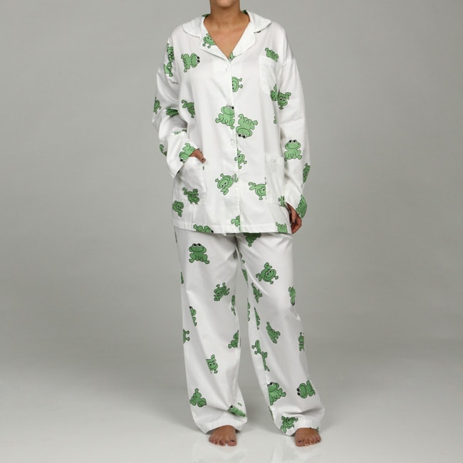 Aegean Apparel Women's Plus Size Frog Print Pajamas (3X)
