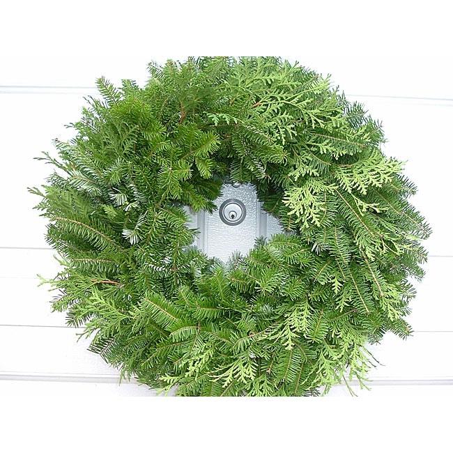 Fresh Balsam 24-inch Mixed Greens Wreath