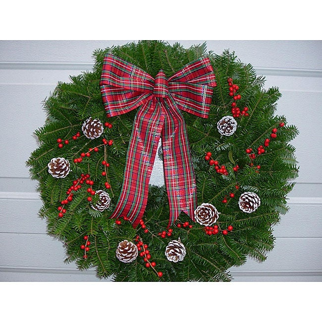 Winterberry 24-inch Fresh Balsam Wreath