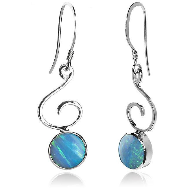 Sterling Silver and Created Blue Opal 'Bella' Earrings (USA)