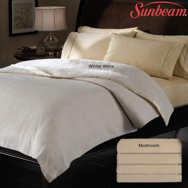 sunbeam egyptian cotton king size winter white heated. Black Bedroom Furniture Sets. Home Design Ideas