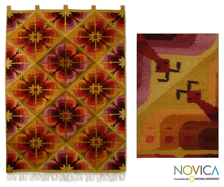 Wool 'Butterfly Flowers' Wall Tapestry (Peru)