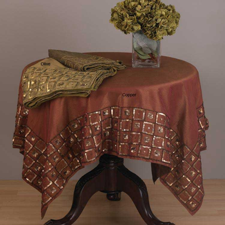 Sequin Squares Border 60-ing Square Tablecloth
