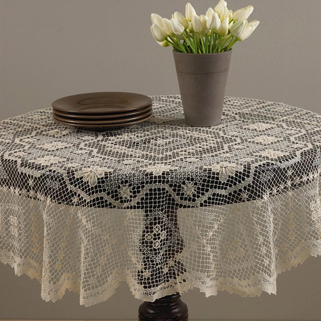 Tuscany White 72 inch Round Lace Tablecloth 13197675  : L13197675a from www.overstock.com size 650 x 650 jpeg 100kB