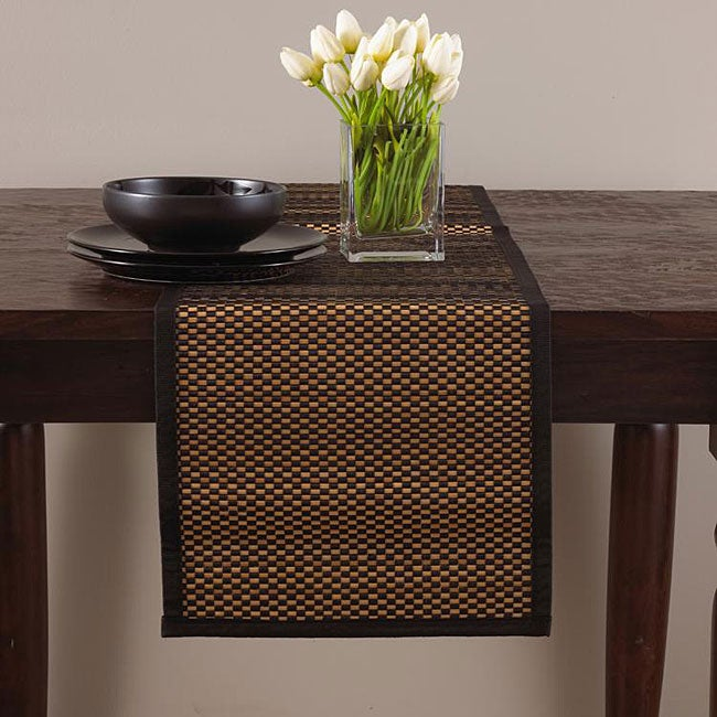 Rayon from bamboo black 14x72 inch table runner 13197690 overstock