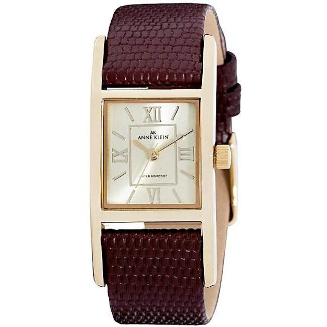 Anne klein women 39 s brown leather strap watch 13203785 shopping big discounts for Anne klein leather strap