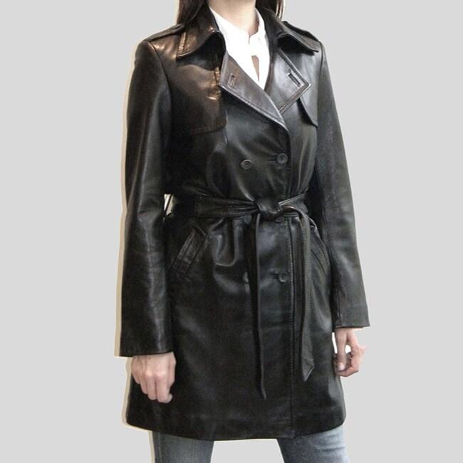Izod Women's Belted Leather coat