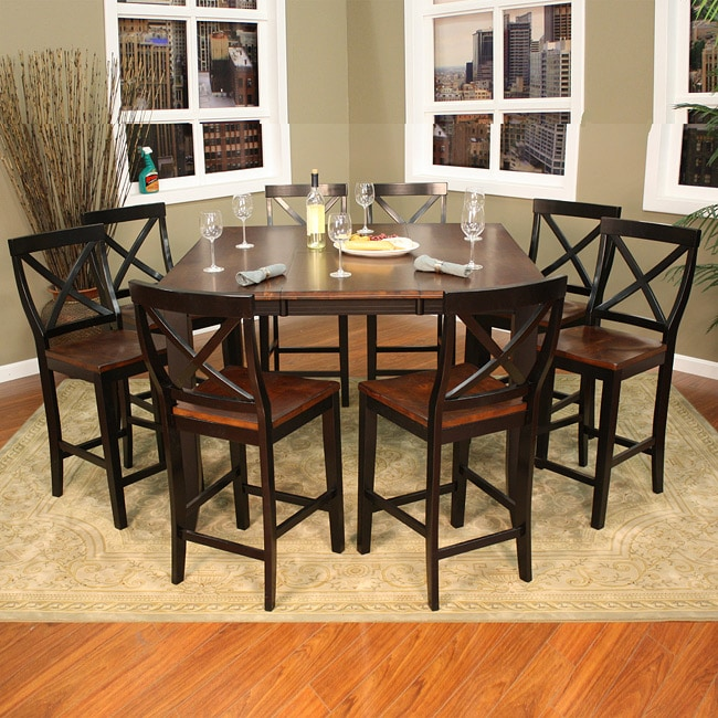 larue 9 piece butterfly leaf counter height dining set overstock