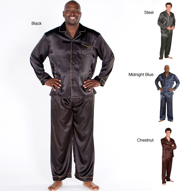 Buy mens satin sleepwear - Classic Men\'s 2-piece Satin Pajamas Set (Steel - L)