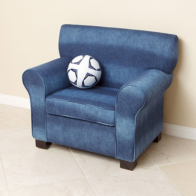 Over Sized Blue Denim Fabric Kids Club Chair 13208767