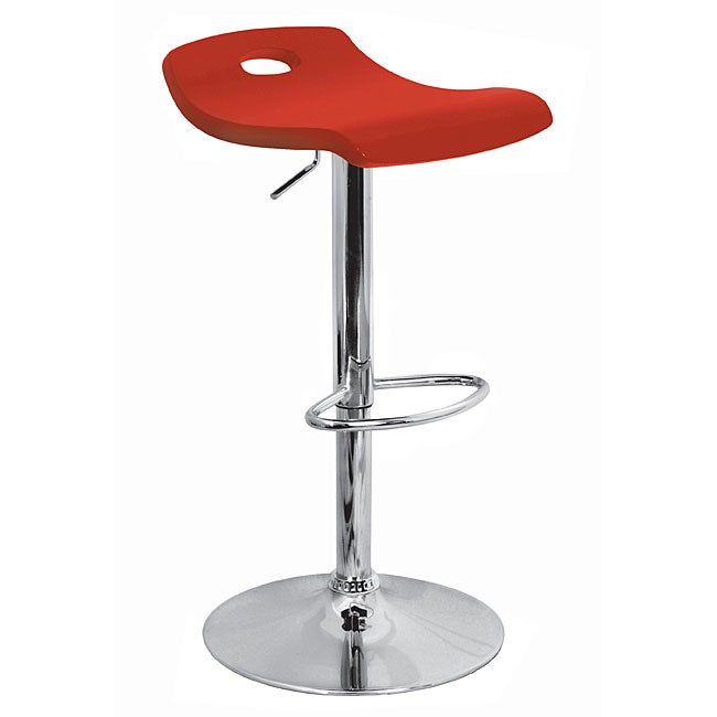 Red Curved Wood Hydraulic Barstool