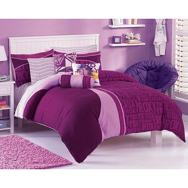 Roxy knock out twin xl size 5 piece duvet cover bedding ensemble with