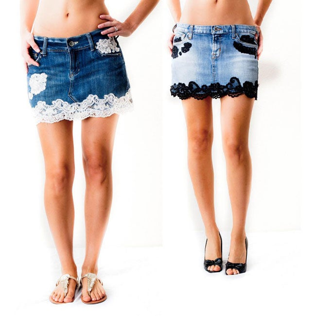 Denim and Lace Junior Mini Skirt