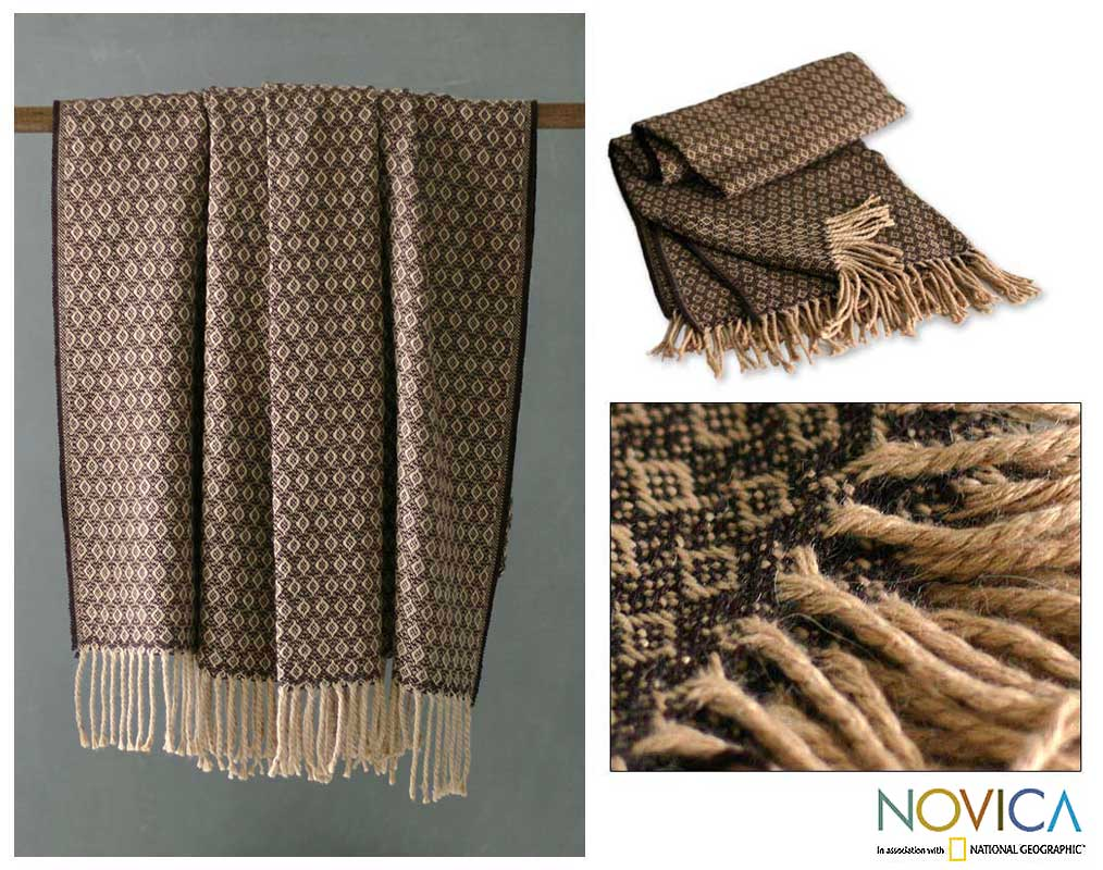 'Cocoa and Cream' Alpaca Wool Throw (Peru)