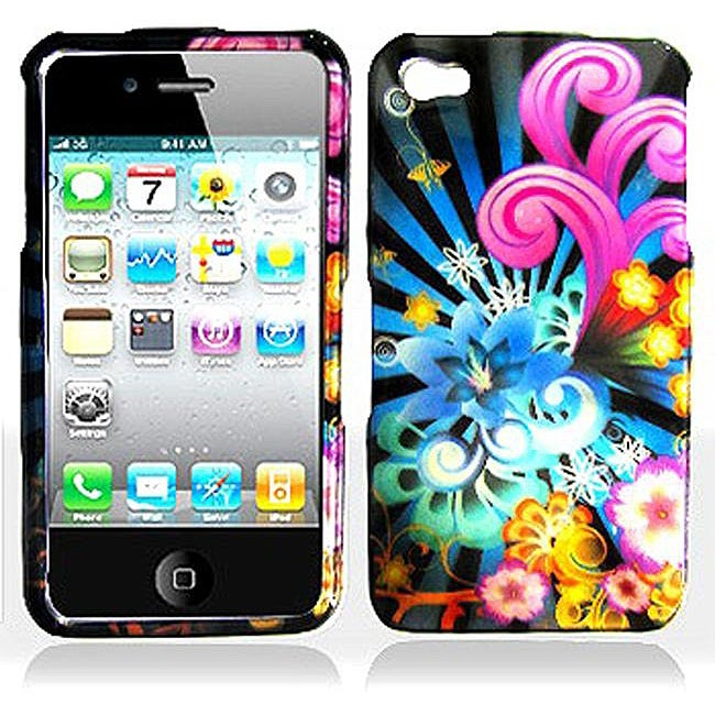 Neon Floral Apple iPhone 4 Protector Case