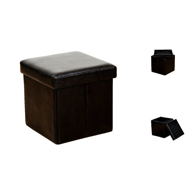 Brown Faux Leather Storage Ottoman (Set of 2)