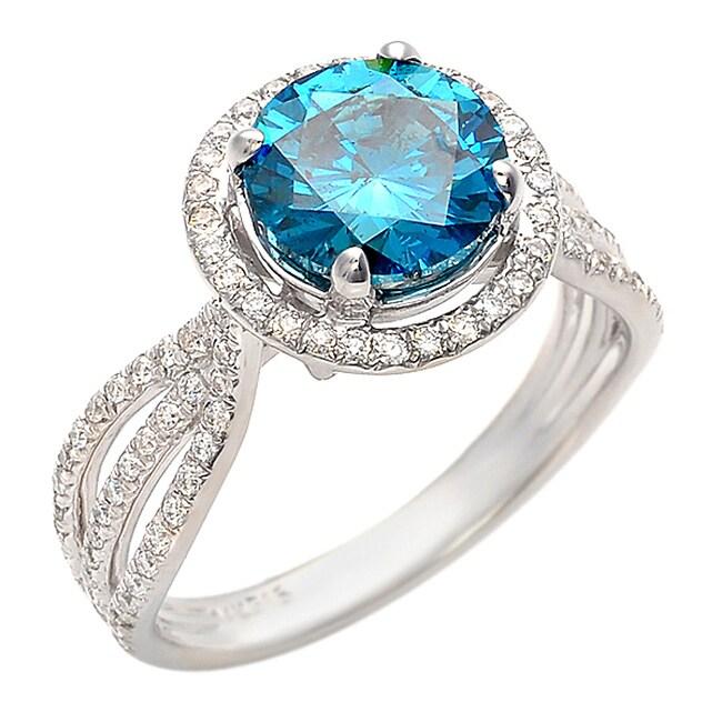 14k White Gold 2 5/8ct TDW Blue and White Diamond Ring (G-H, SI1-SI2)