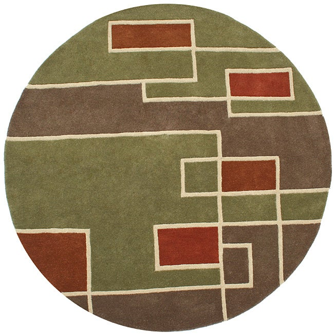 Hand-tufted Labyrinth Green Wool Rug (8' Round)