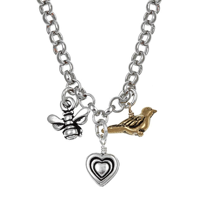 Charming Life Silvertone Birds and the Bees Charm Necklace