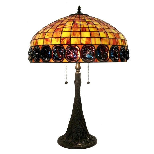 Tiffany-style 2-light Bronze Table Lamp
