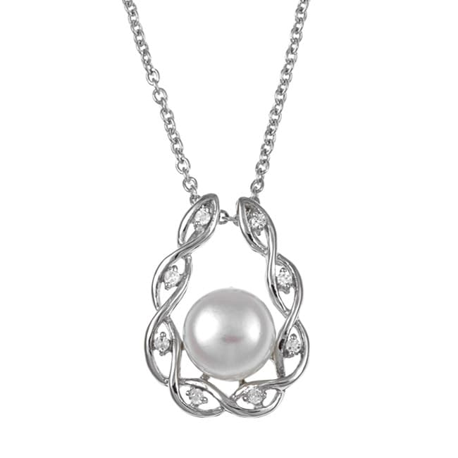 Kabella Sterling Silver Freshwater Pearl and Cubic Necklace (9-10 mm)