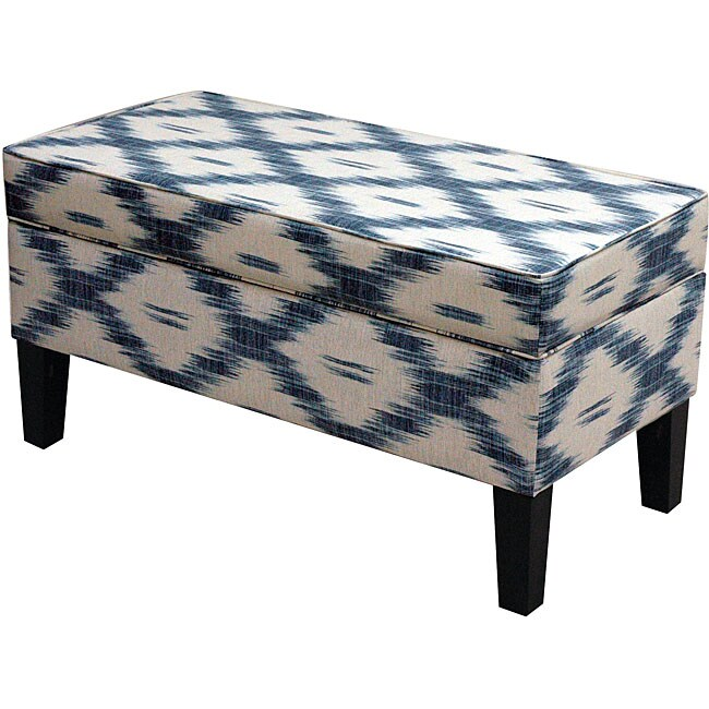 Made To Order Jenny Santa Fe Blue Upholstered Storage Bench