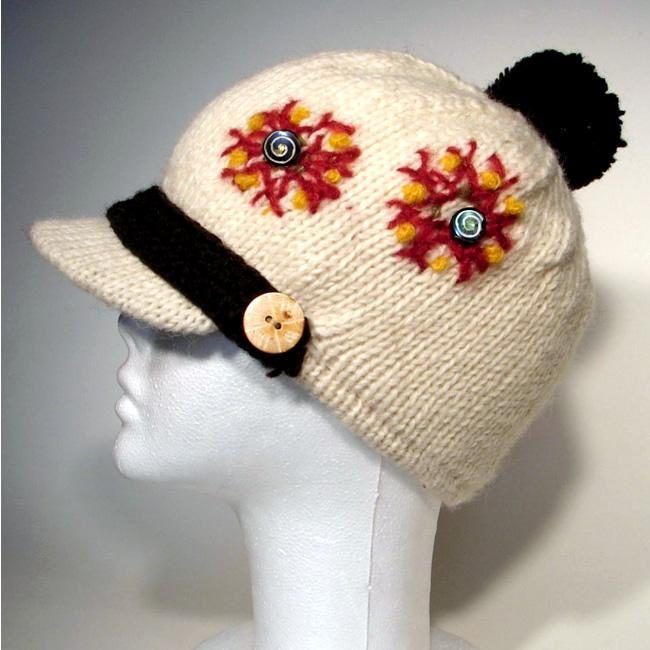 Wool and Cotton 3-button Hat (Nepal)