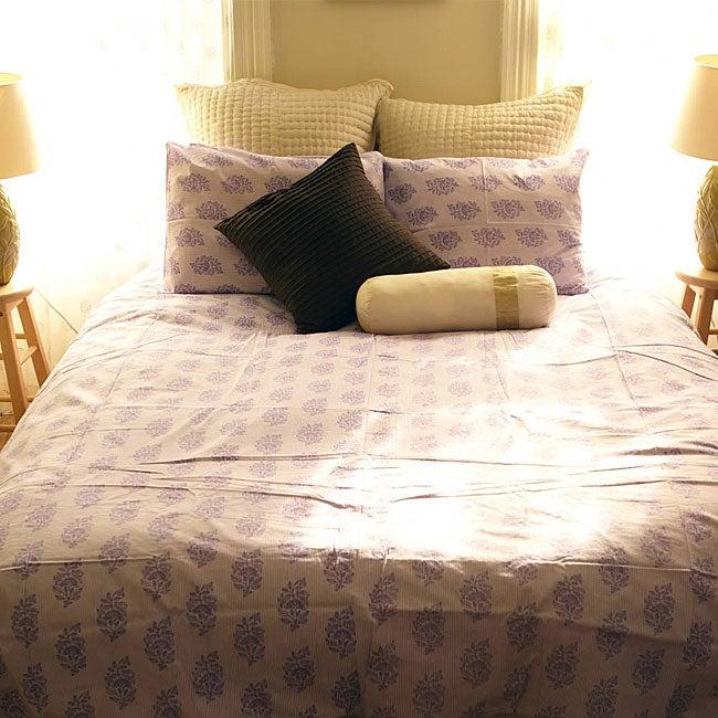 Organic Cotton Elyse Violette King-size Duvet Cover (India)