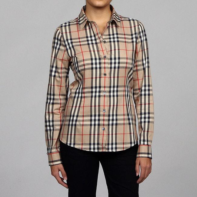 Burberry womens plaid long sleeve button down shirt on for Womens patterned button down shirts