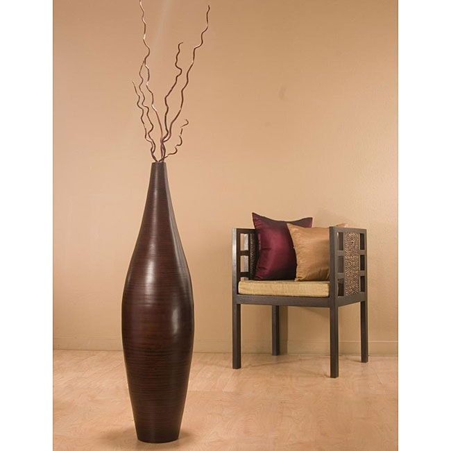 Handcrafted Bamboo Ellipse 41-inch Floor Vase with Kuwa Branches ...