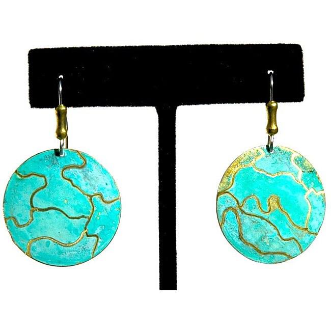 Brass Aqua Round Earrings (Brazil)