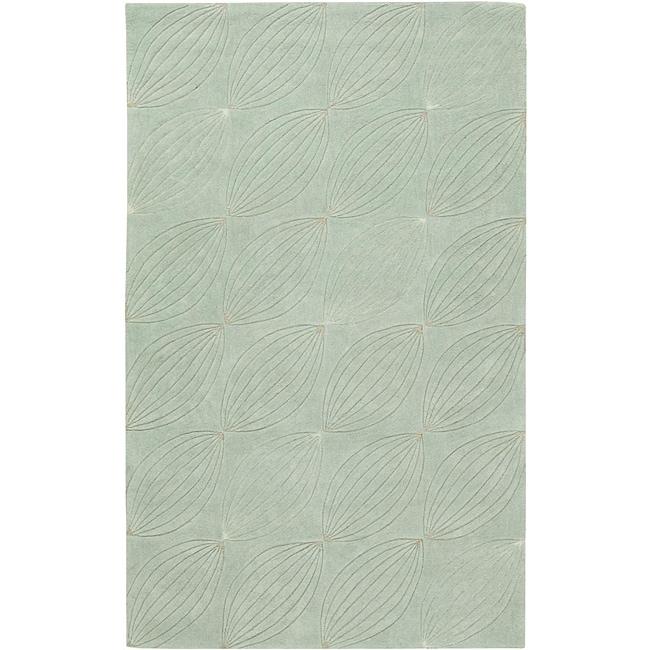 Hand-tufted Green Geometric Rug (8' x 11')