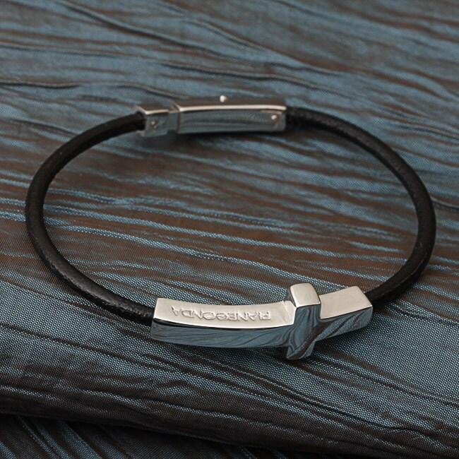 Pianegonda Sterling Silver Cross Leather Bracelet