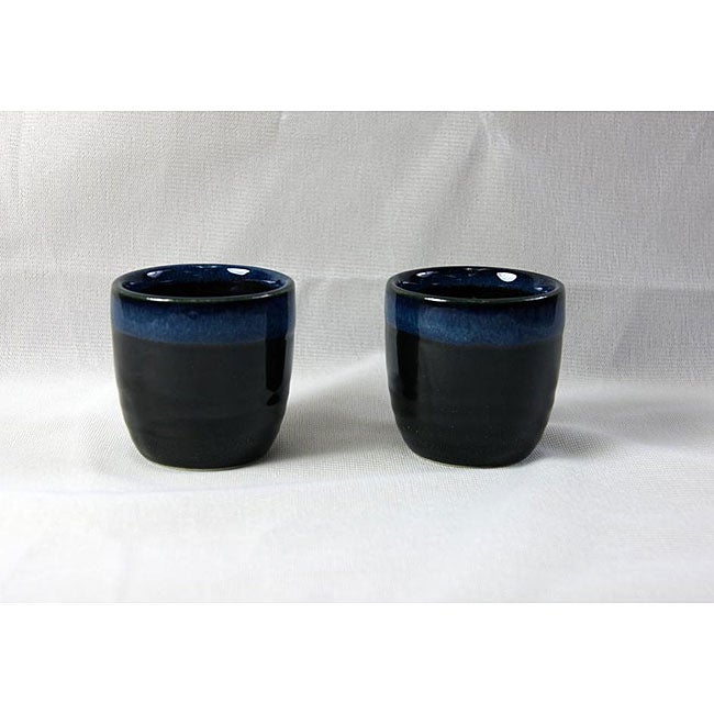 Black and Blue Glaze Sake Cups (Set of 4)