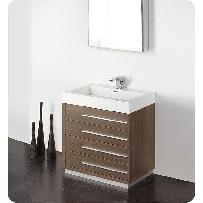Fresca livello 30 inch grey oak bathroom vanity and for Gray 30 inch bathroom vanity