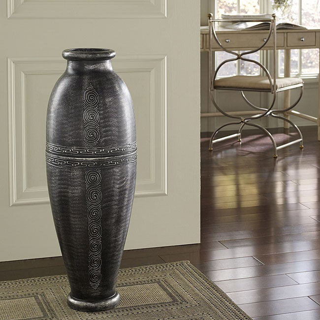 Antique Silver Floor Urn Vase Indonesia 13306376