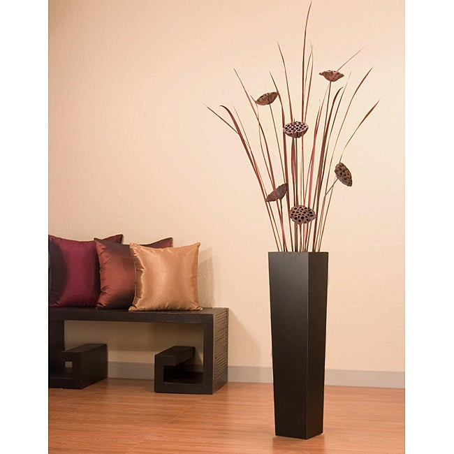 Tall black floor vase with lotus tall grass overstock for Tall grass decor