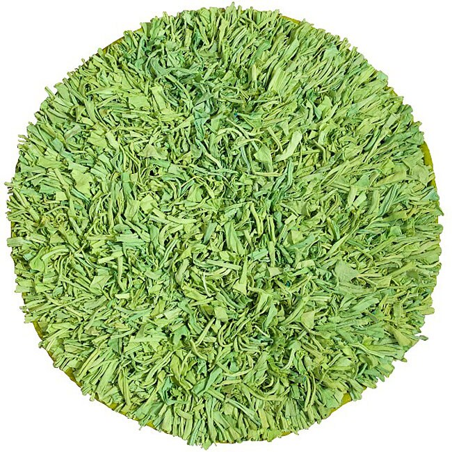 Handmade Green Cotton Shag Rug (4'9 Round)