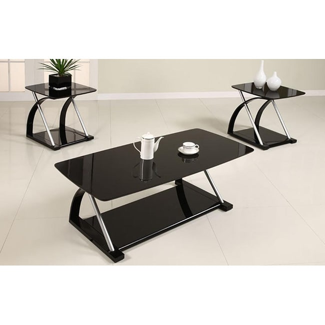 wyatt 3 piece black glass coffee table set 13314709 shopping great deals on. Black Bedroom Furniture Sets. Home Design Ideas