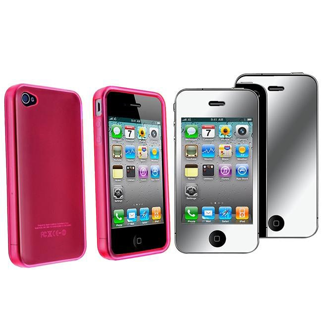 Clear Hot Pink TPU Case/ Mirror Screen Protector for Apple iPhone 4