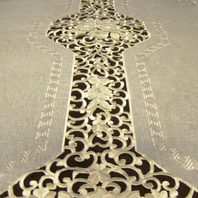 Overstock.com Roman Two-tone Embroidered 72x126-inch Formal Tablecloth at Sears.com