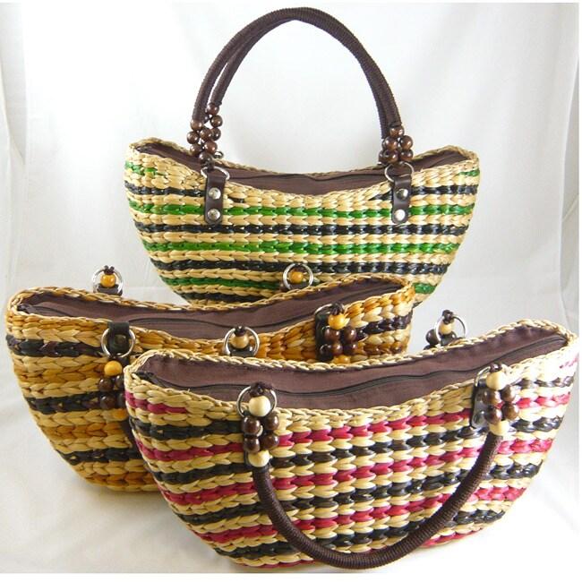 Water Hyacinth Patterned Shoulder Bag (Thailand)