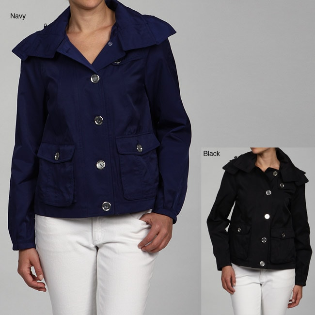 Nine West Women's Button Front Hooded Jacket