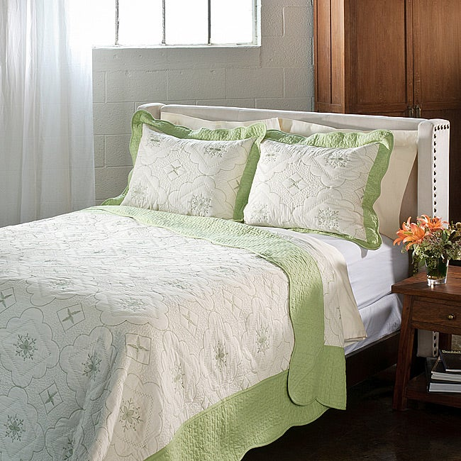 Lace Embroidered Cotton Sage 3-piece Quilt Set
