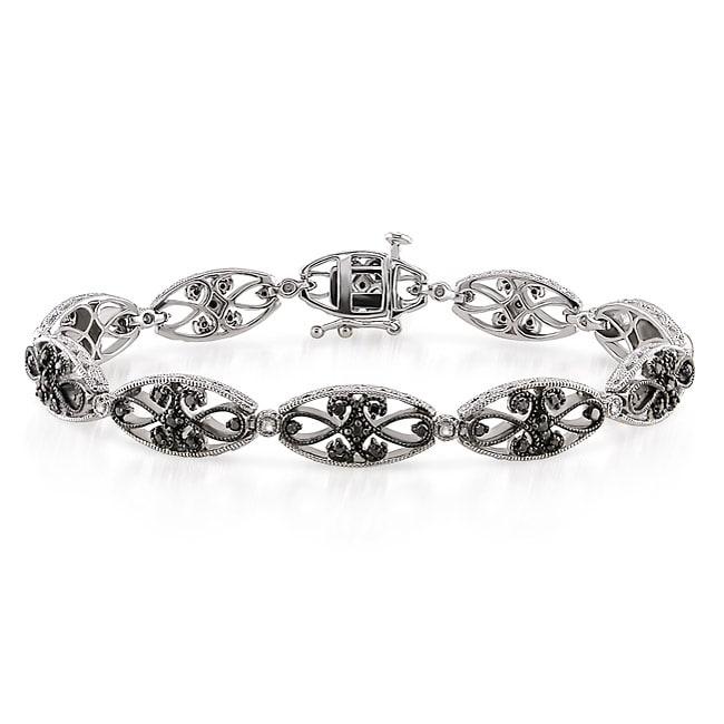 Miadora Sterling Silver 3/4ct TDW Black and White Diamond Bracelet (G-H, I2-I3)