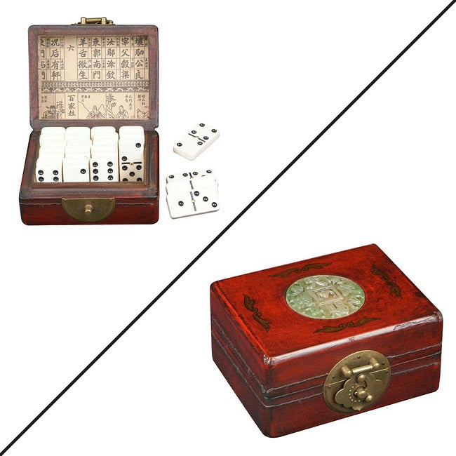 Red Leather and Jade Ingot Dominoes Set (China)